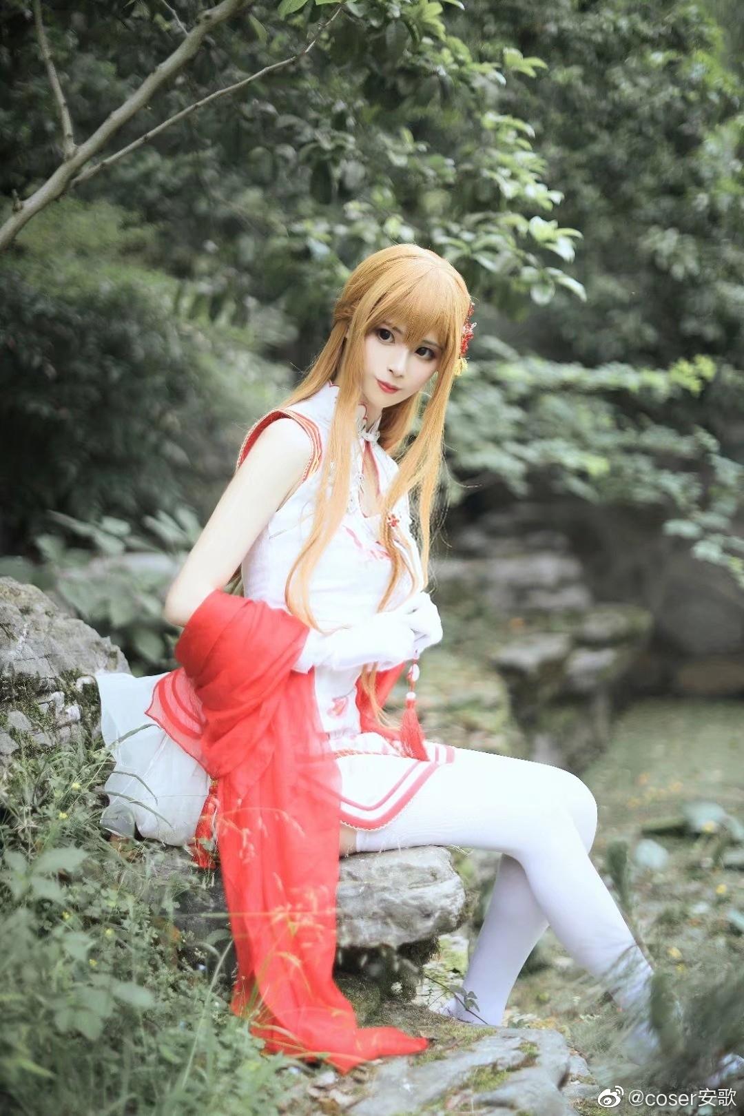 刀剑神域   亚丝娜  同人旗袍   @coser安歌 (9P)-第7张